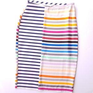 Tanya Taylor Rainbow Peggy Striped Pencil Skirt 8